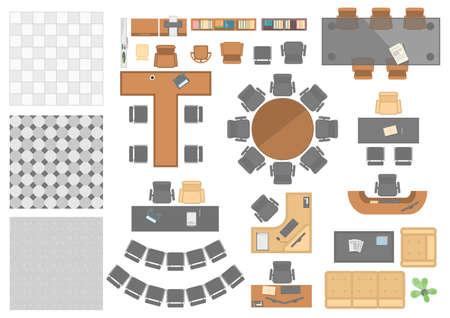 Elementos de trabajo de oficina - conjunto de objetos vectoriales modernos Ilustración de vector