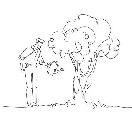 Man watering the tree - one continuous line design style illustration. Stock Illustratie