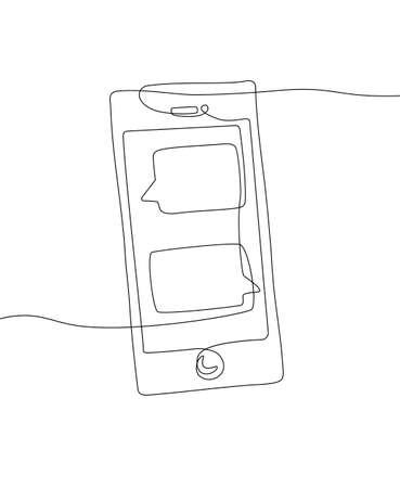 Smartphone - one line design style illustration isolated on white background. A gadget with a chat on the screen. High quality image for your presentation Ilustração