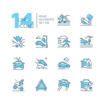 Road accidents - set of line design style icons isolated on white background. High quality minimalistic black and blue pictograms. Car crash, bad weather conditions, motorbike, breakdown, gravel Ilustrace