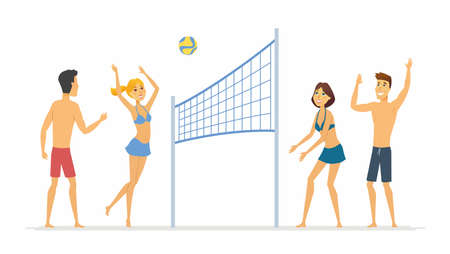 Beach volleyball - cartoon people character isolated illustration on white background. Happy smiling friends playing a game on the sand. Summer activity concept Çizim