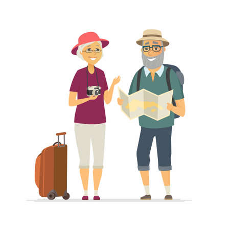 Senior tourists - cartoon people character isolated illustration on white background. Happy smiling elderly couple traveling, standing with a map, camera, baggage. Active lifestyle concept Ilustracja