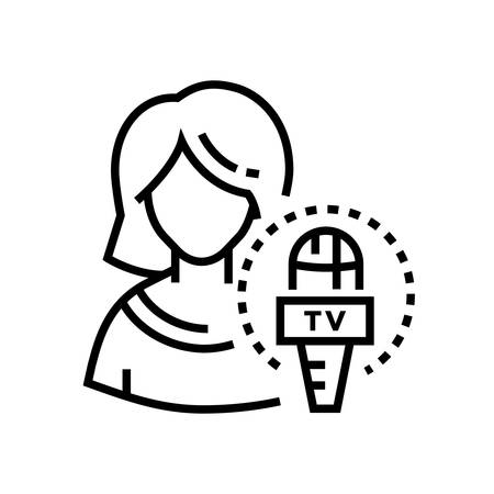 TV presenter - line design single isolated icon on white background. High quality minimalistic black pictogram, emblem. An image of a young woman, female journalist, and a microphone