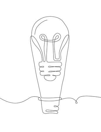 Lightbulb - one line design style illustration isolated on white background. Inspiration, creative idea concept. High quality image for your presentation Illustration