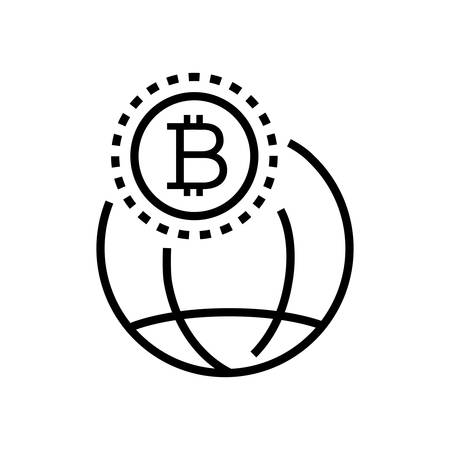 Worldwide cryptocurrency - line design single isolated icon on white background. High quality minimalistic black pictogram, emblem. Images of a bitcoin sign and a globe
