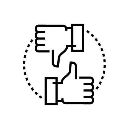 Like and dislike - line design single isolated icon on white background. High quality minimalistic black pictogram, emblem. Thumb up button and down for social networks, websites or mobile apps Illustration