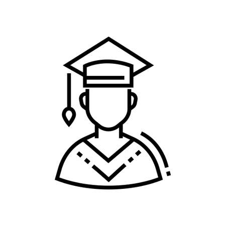 Male student - line design single isolated icon