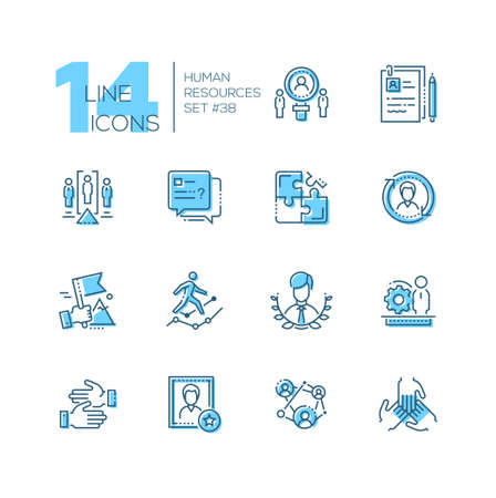 Human resources set of line design style icons isolated on white background. Blue pictograms work group, unity, project team, CV, leadership, cooperation, negotiations, candidate. Ilustracja