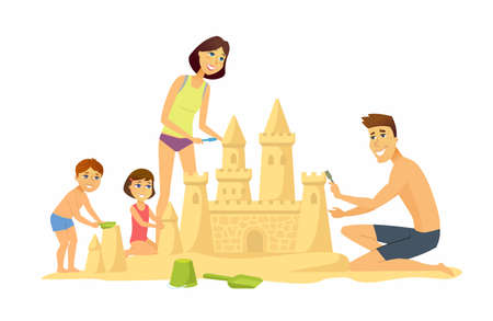 Happy children on the beach - cartoon people character illustration isolated on white background. Smiling kids building a sandcastle, flying a kite, playing with a ball, having fun together Illustration