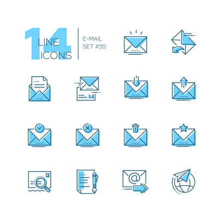 Email - set of line design style icons isolated on white background. Minimalistic pictograms. Main options, send, receive, delete, save, important letter, draft, international correspondence