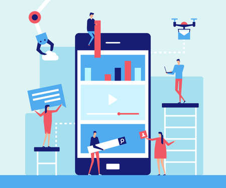 Mobile app development - flat design style illustration. Metaphorical composition with big smartphone, drone, mechanic arm, characters. Social networking, chatting, search, video, infographics symbols 矢量图像