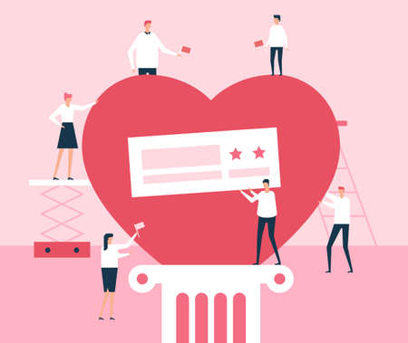 Volunteers - flat design style illustration. Metaphorical composition with big red heart on a podium and social workers holding flags