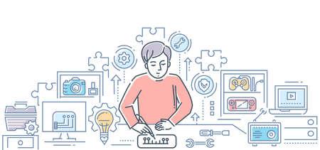 Computer service center - line design style illustration