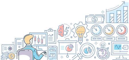 Stock exchange - modern line design style colorful illustration
