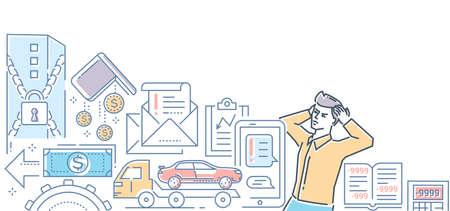 Bankruptcy - modern line design style colorful illustration