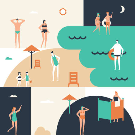 Beach holiday - flat design style conceptual illustration Çizim