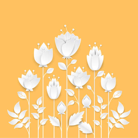 Paper cut growing flowers - modern vector colorful illustration