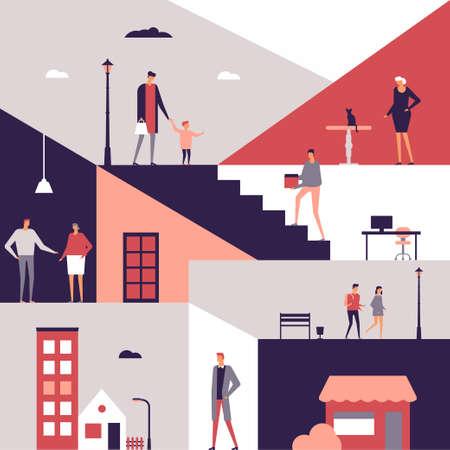 Family life - flat design style illustration