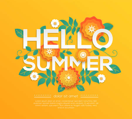 Hello summer - modern vector colorful illustration
