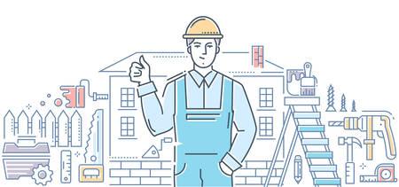 General worker - line design style illustration