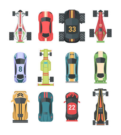 Sport and racing cars - set of modern vector elements Illustration
