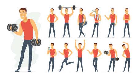 Sportsman - vector cartoon people character set