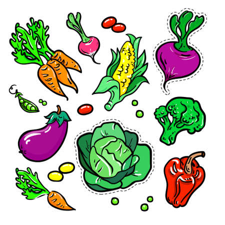Vegetables - vector isolated retro stickers set