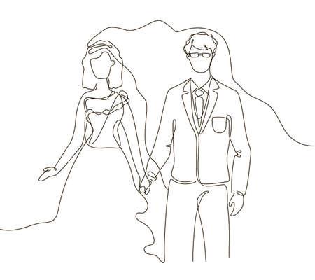 Wedding - one line design style illustration
