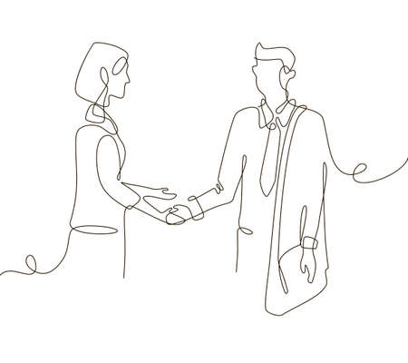 Business agreement - one line design style illustration isolated on white background. Composition with young male and female businessmen shaking hands, signing up a contract. Partnership concept