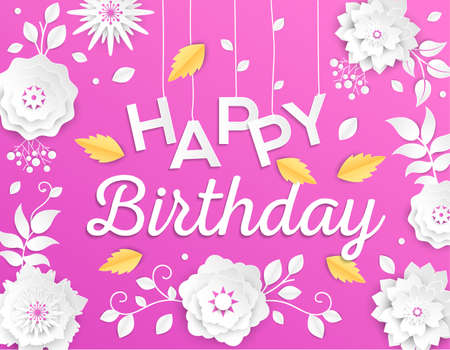Happy birthday - modern vector colorful illustration on pink background. High quality composition with lovely white paper cut flowers and yellow leaves. Perfect as a greeting card 向量圖像