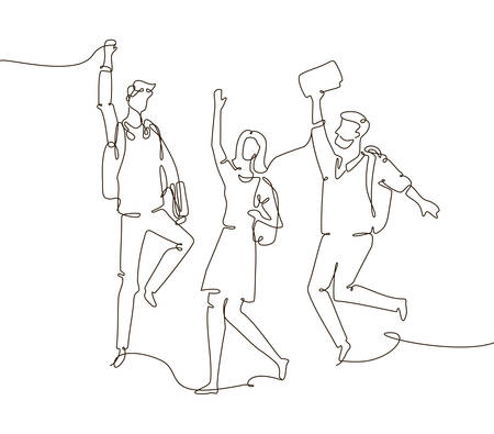 Happy groupmates - one line design style illustration isolated on white background. Composition with students, boys and girls with bags and books jumping with joy, passing their exams Illustration