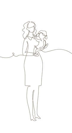 Mother with a child - one line design style illustration isolated on white background. Composition with young woman holding a little daughter. Perfect for presentations