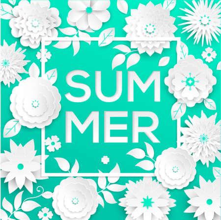 Summer - modern vector colorful illustration on green background. High quality composition with lovely paper cut flowers, floral ornament. Text in a white frame. Perfect as a card, banner, flyer Illusztráció