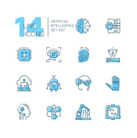 Artificial intelligence - set of line design style icons on white background. Brain, cyberhand, virtual reality glasses head, robot, automated robotic arm, fingerprint, eyetap augmentation, sensors