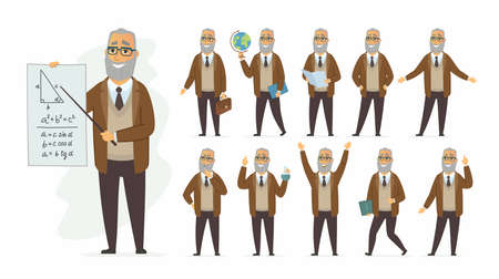 Teacher - vector cartoon people character set isolated on white background. Senior man teaching different subjects, maths, geography, chemistry. Set of different situations and poses