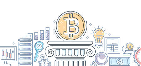 Bitcoin business - colorful line design style illustration on white background. High quality composition with cryptocurrency symbol on a podium, key, money, rates, loupe, gear, server