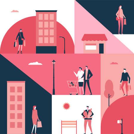 Shopping - flat design style illustration