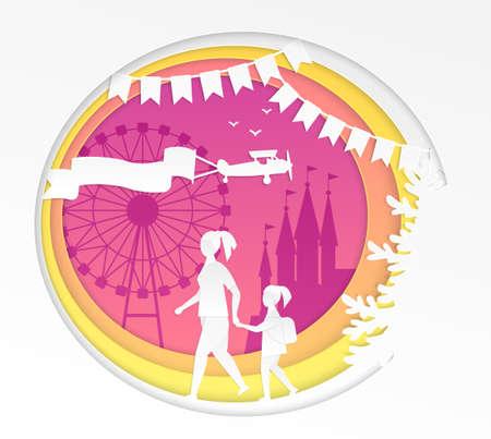 Amusement park - modern vector paper cut illustration