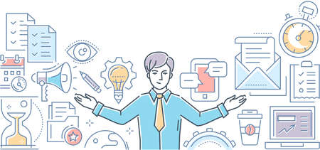 Multitasking - line design style illustration