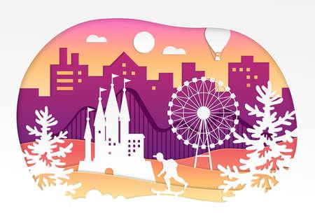Theme park - vector paper cut illustration