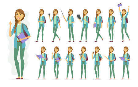 Female student - vector cartoon people character set