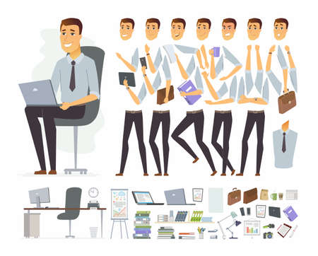 Businessman at work - vector cartoon people character constructor