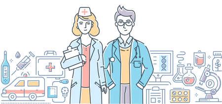 Medical clinic - line design style illustration Illustration