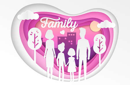 Family - modern vector paper cut illustration