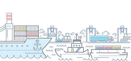 Port - modern line design style colorful illustration Illustration