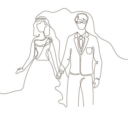 Wedding - one line design style illustration