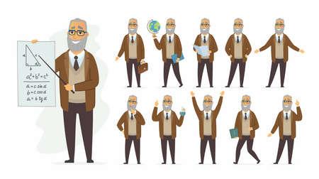 Insegnante - set di caratteri della gente del fumetto di vettore