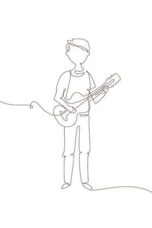 Schoolboy playing guitar - one line design style illustration