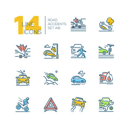 Road accidents - set of line design style icons