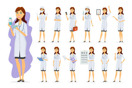 Female doctor - vector cartoon people character set
